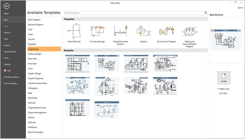 Nouvelle page de dessin pour les schémas électriques