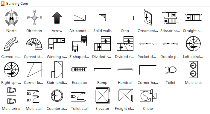 Floor Plan Symbols-Building Core