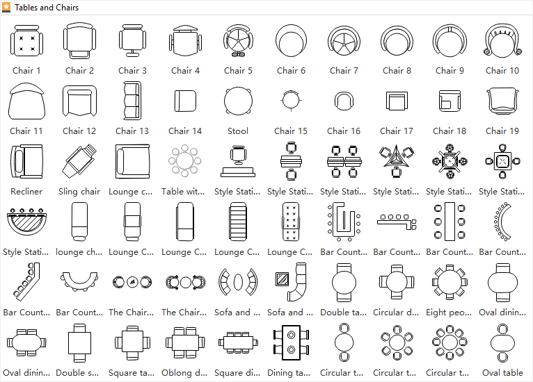 Tables and chairs symbols for floor plan