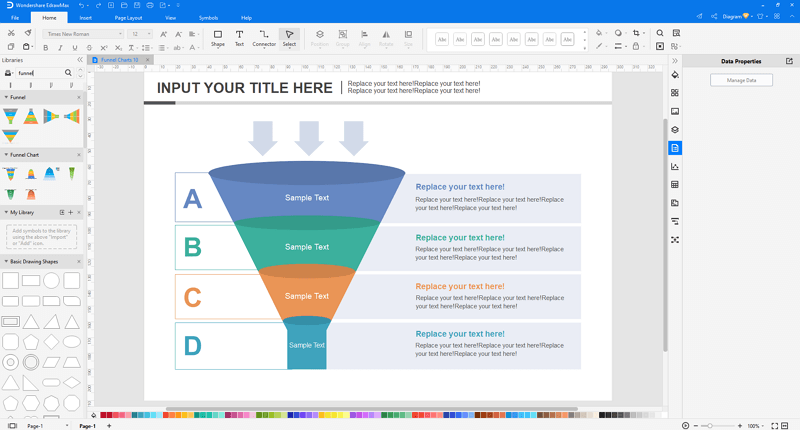 customize funnel chart in EdrawMax