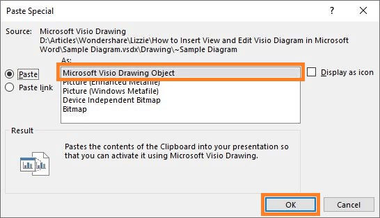 Microsoft Visio Drawing Objectを選択