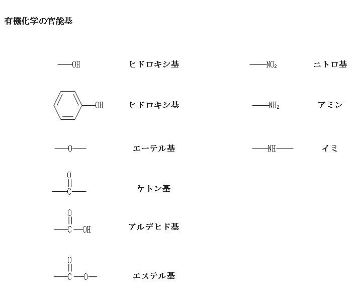 有機化学の官能基