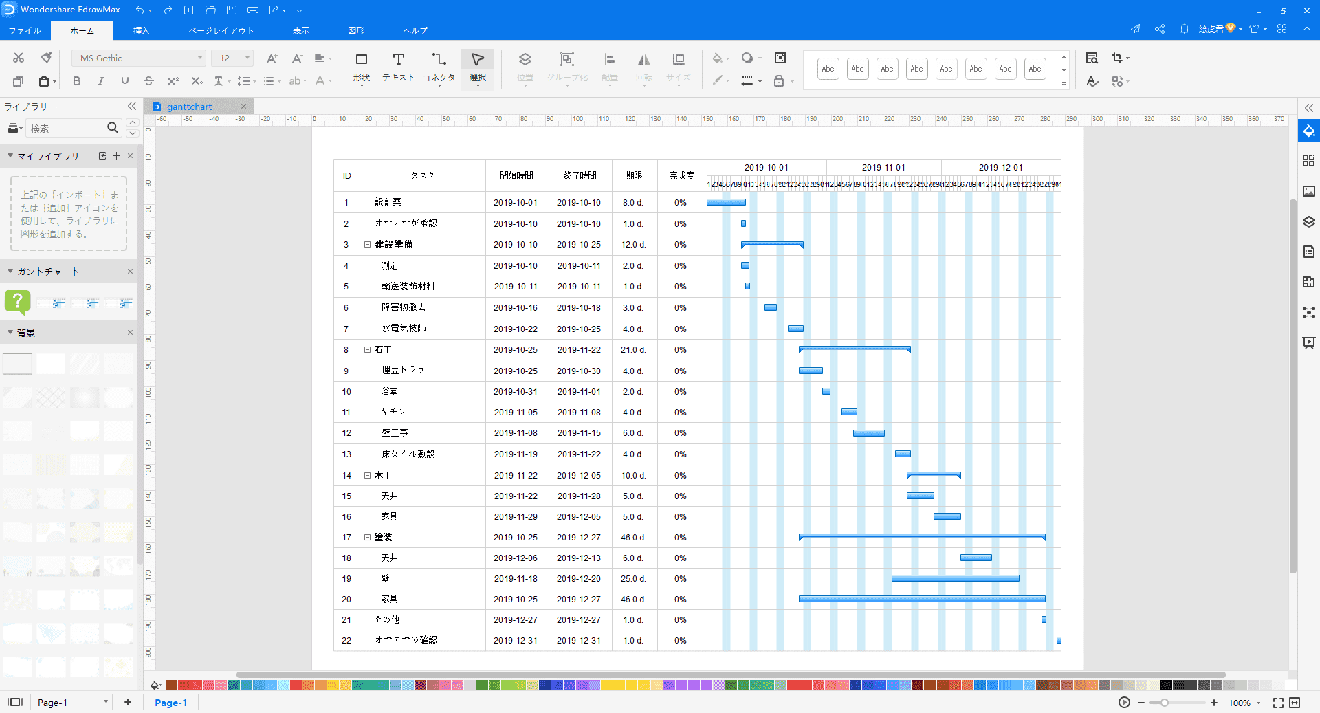 ガントチャート作成ソフト