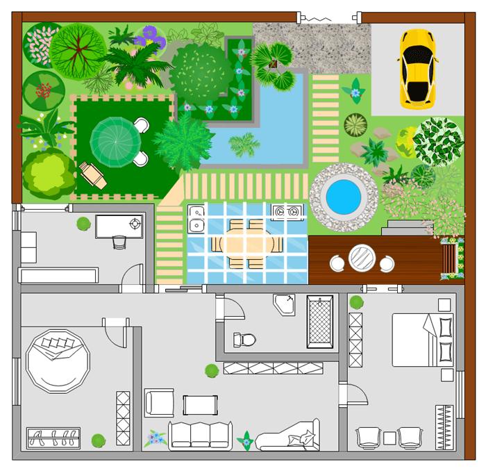 一戸建ての住宅間取り ガーデン付き