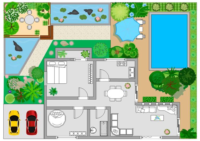 一戸建ての住宅間取り 庭園
