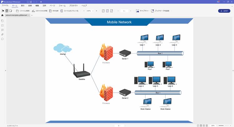PDF ネットワーク構成図テンプレート