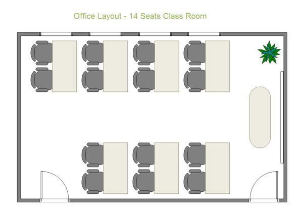 オフィスレイアウト - 14席のルーム