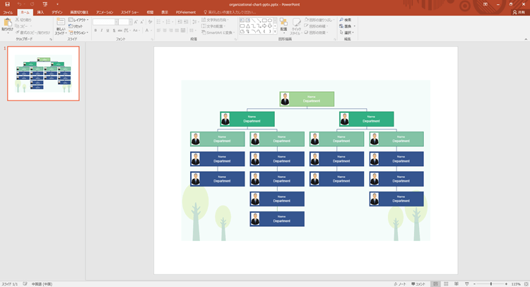 PowerPoint 組織図テンプレート