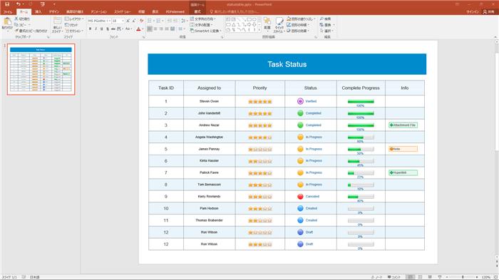 PowerPoint 進捗管理表テンプレート