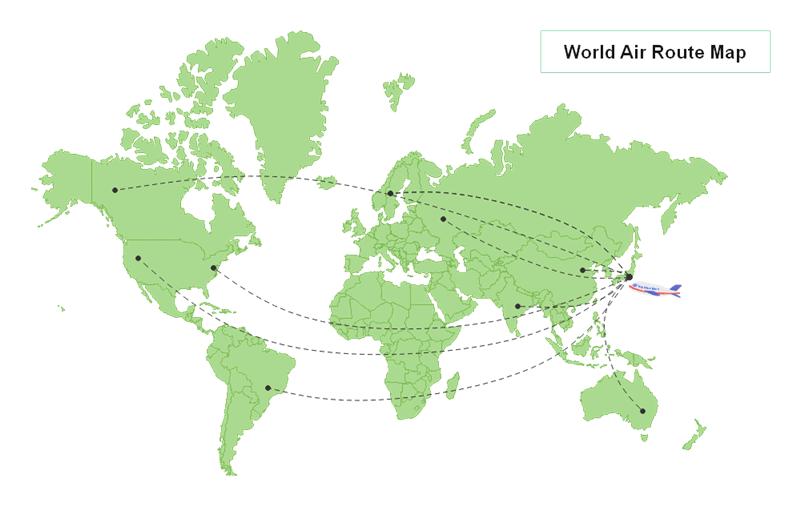世界地図素材 - 航空路線地図