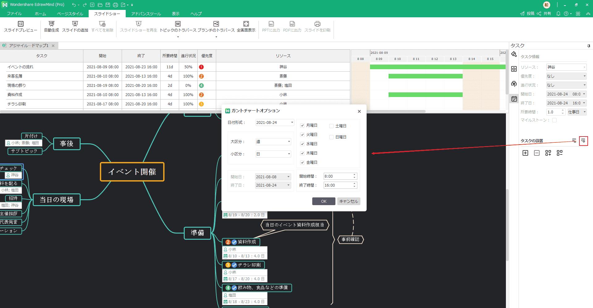 ガントチャートオプションボタン EdrawMind